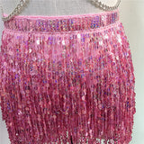 Holographic 2 Piece Outfits Metal Chain Rivet Rave Bra Backless Tops Tassel Sequins Lace Up Skirt Sexy Women Club Festival Wear