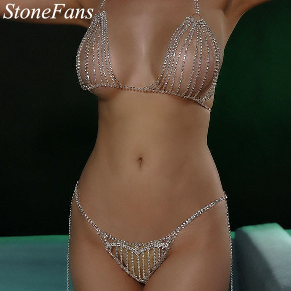 Stonefans Big Heart Rhinestone Underwear Bra Thong Set for Women Sexy Crystal Bralette Panties Body Chain Jewelry Valentine Gift
