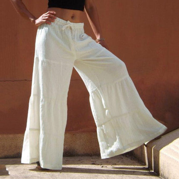 Casual Ruffle Loose Pants Women Plus Size Solid Folds Mujer Wide Leg Pants Bell Bottom Beach Summmer Pants