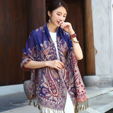 New National Style Shawl Women Autumn Winter Tassels Long Scarf Female Pashmina Cashmere All-Match Travel Scarves