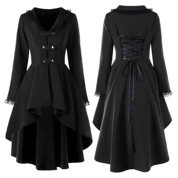 Women's Gothic Vintage Mid-long Trench Coat Women Black Slim Belt