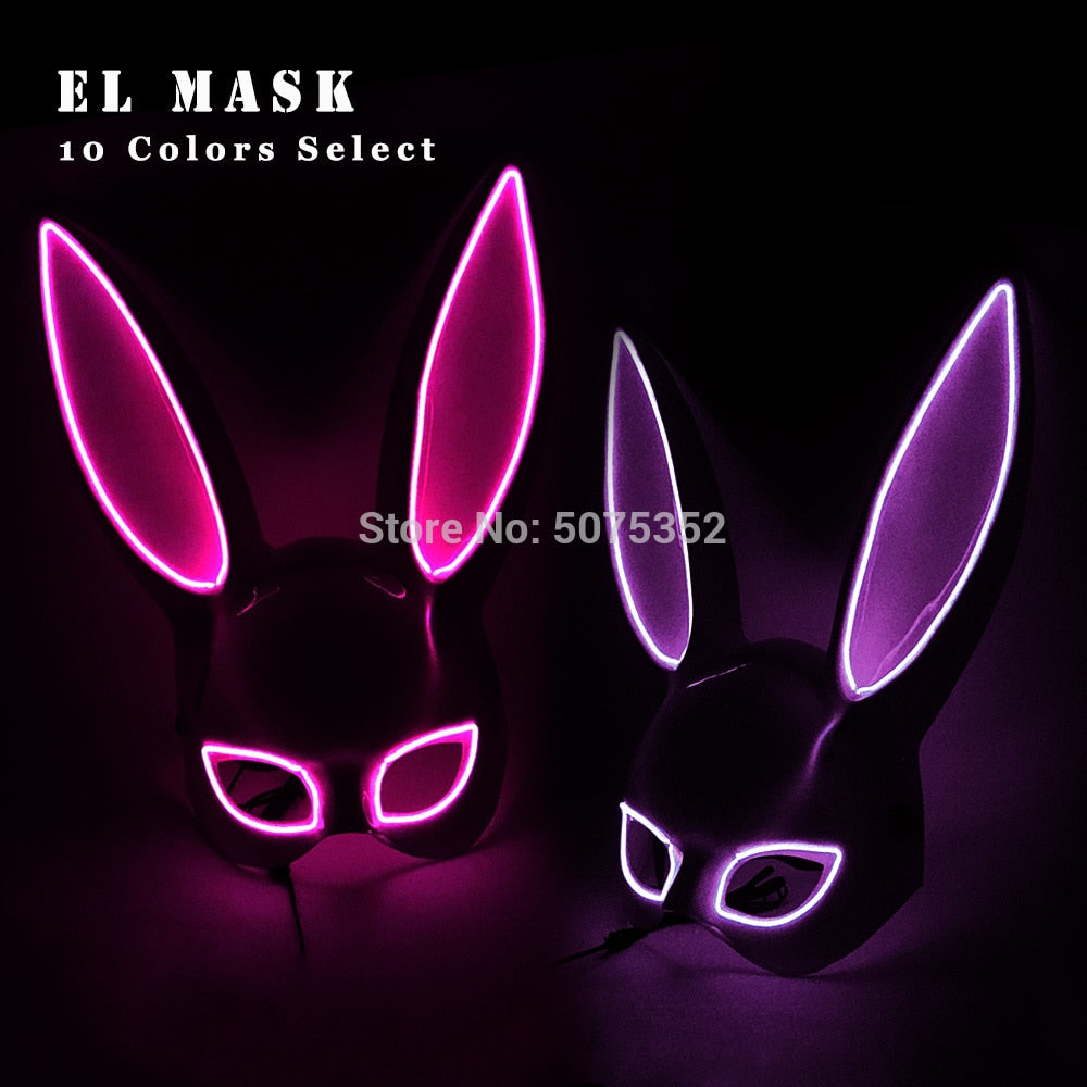 bunny ears face mask fluorescent led el wire light up bmessentials