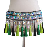 Crystal Colorful Gems Fringe Tassels Body Chain Top and Skirt (2 Piece Set)