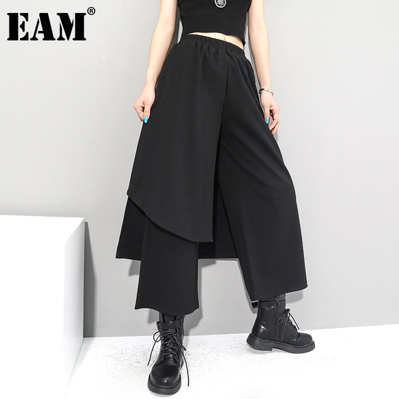 [EAM] High Elastic Waist Black Irregular Long Wide Leg Trousers New Loose Fit Pants Women Fashion Tide Spring Autumn 2021 1Z289