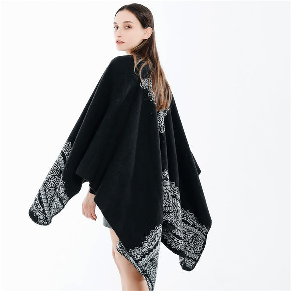 TEELYNN Floral Lace Pattern Knit Shawl Cape Cardigan Women Outwear Autumn Winter 2021 Vintage Black Scarves Ponchos Cloak Scarf
