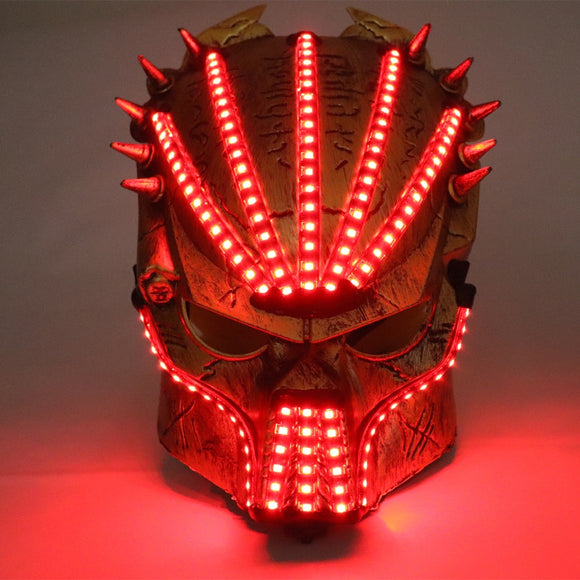 LED Luminous Predator Mask Illuminate Stage Performance Headwear Party Halloween Ghosts Masks