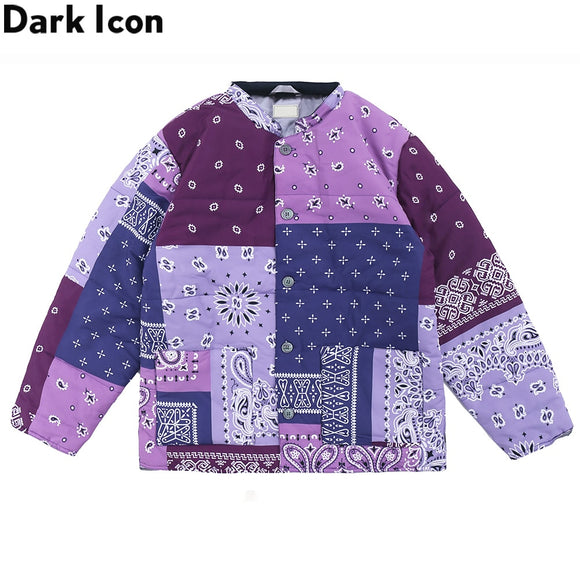Dark Icon Bandana Cotton Padded Men's Coat Round Neck Street Coats Men