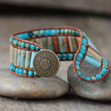 Boho Bracelet Unique Natural Stone Vintage Leather Wrap Bracelets Wholesale Bohemian Woven Stone Cuff Bracelet Dropship