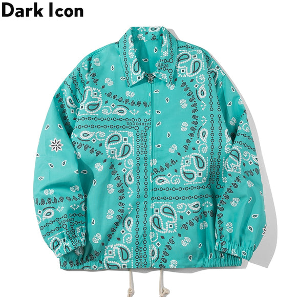 Dark Icon Bandana Thin Jacket Men Turn-down Collar Street Fashion Men's Jackets Outwear Windbreaker