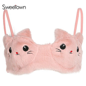 Sweetown 2019 Hot Fashion Marten Hair Fur Crop Top Women Rave Party Clubwear Pink Cat Pattern Cute Sexy Cami Top Camisole Summer