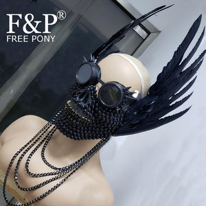 Rivets and Chains Winged Skull Face Mask with Googles