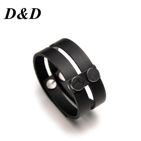 D&D New Fashion Charm Punk Women Jewelry Wholesale Black Genuine Leather Charms Bracelet For Men Christmas Gifts
