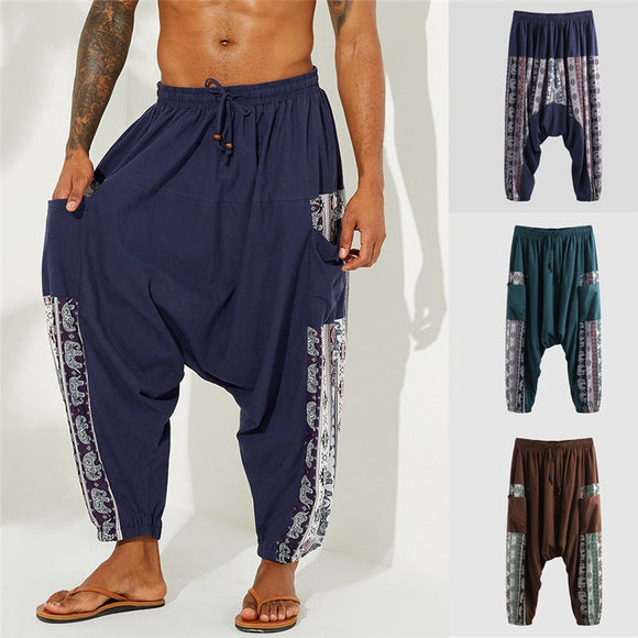 Vintage Men Wide Leg Baggy Pants Elastic Loose Casual Pants Drawstring High Waist Male Muslim Baggy Pants Casual Trousers