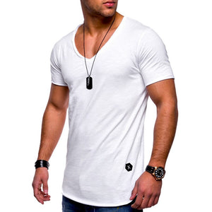 Deep V neck short sleeve men t shirt Slim Fit t-shirt men Skinny casual summer tshirt camisetas hombre