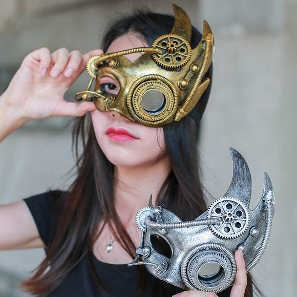 Steampunk  Phantom Masquerade Cosplay Mask Ball Half Face Men Punk Costume Halloween Party Costume Props Heavy metal
