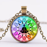 Indian Sanskrit OM Symbol Necklace OHM OM AUM Buddha Lotus Silver Plated Flower of Life Mandala Art Glass Chain Jewelry