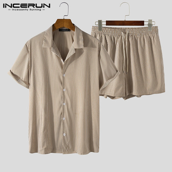 INCERUN Men Striped Sets Lapel Short Sleeve Shirt Shorts Streetwear Vacation 2021 Hawaiian Casual Men Suits 2 Pieces S-5XL