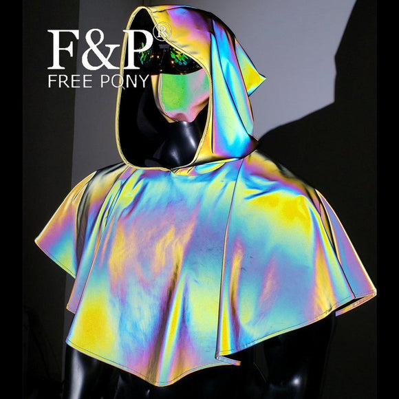 Medieval Hooded Rainbow Reflective Cape Cloak  Holographic Carnival Costume Gogo Dance Stage Wear Gothic Clothing