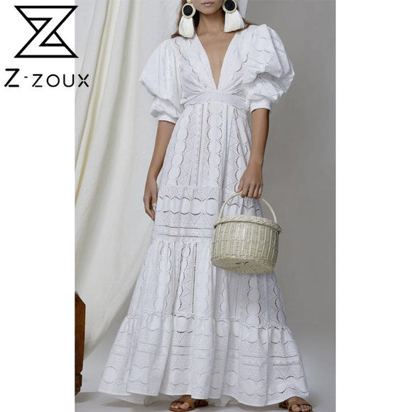Women Dress Elegant White Lace Dresses Deep V Neck Puff Sleeve Vintage Dress High Waisted Hollow Out Maxi Dresses 2020