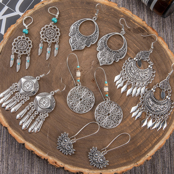 Ethnic Bohemian Bright Silver Color Big Drop Dangle Long Metal Fringes Tassel Earring Geometric Earrings for Women Party Jewelry