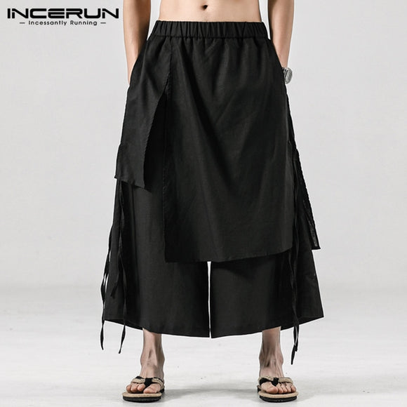 INCERUN Solid Color Men Casual Pants Joggers Elastic Waist Loose Irregular Skirt Trousers Men Streetwear Harajuku Wide Leg Pants