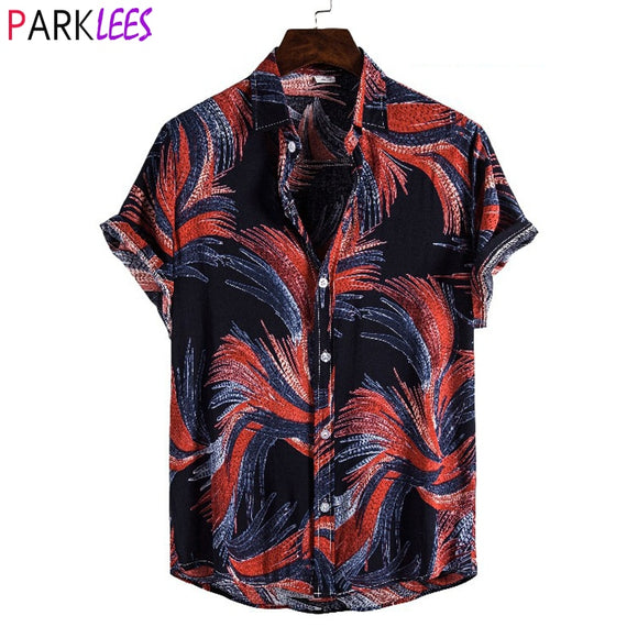 Funky Black Hawaiian Beach Shirt Men 2020 Summer Short Sleeve Causal Button Down Chemise Holiday Party Vacation Clothing M-3XL