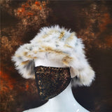 Funky Faux Fur Bucket Hat Fox Rabbit Animal Print Thickened Soft Warm