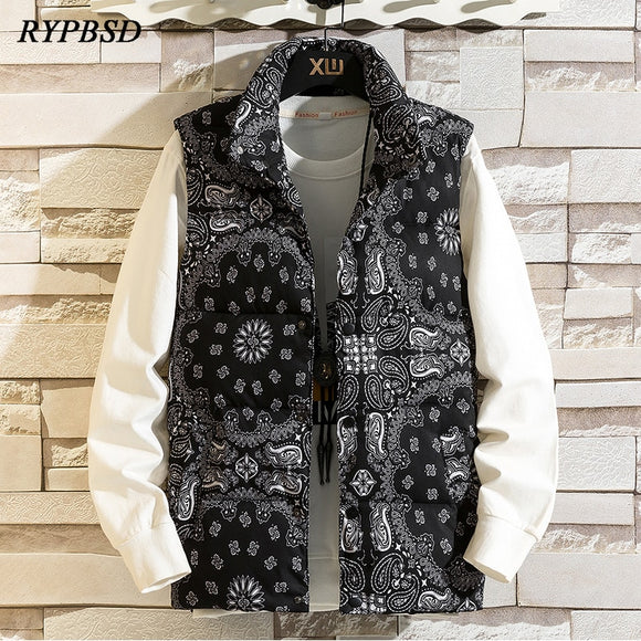Winter Bandana Vest Jacket Men Harajuku Fashion Paisley Sleeveless Puffer Jacket Thick Warm Parka Mens Waistcoat Vest Clothing