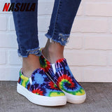 Women Print Loafers Woman Causal Flat Platform Shoes Ladies Comfortable Vulcanized Women's Fashion Leather Shoes Plus Size 43