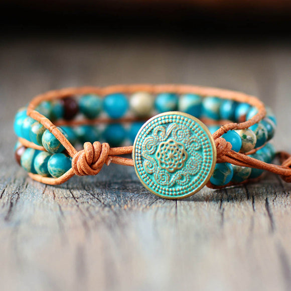 Cuff Bracelet Turquoise 6MM Natural Stone Genuine Leather Wrap Bracelets Handmade Weaving Bead Boho Bracelet Jewelry