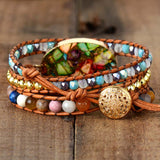 Exotic Colorful Natural Stone Rhinestone Beaded 3 Layer Leather Cuff Bracelet