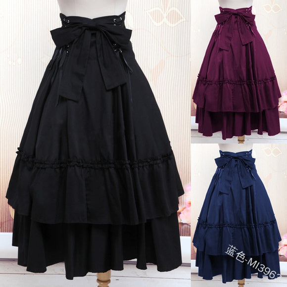 Lolita Dress Women Vintage Skirt Gothic Revival Party Masquerade Wearing Costumes Draped Skirt 5 Colors