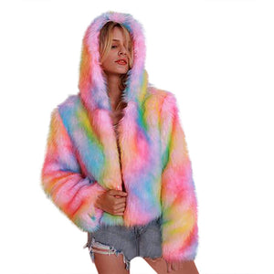 Women Rainbow Faux Fur Coat Jacket Colorful Artificial Wool Collar Hooded Long Sleeve Thicken Warm Coats And Jackets Women 2019