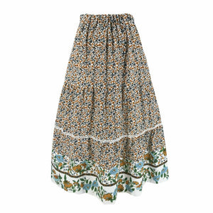 Boho Women Ladies Floral Long Maxi Skirts Summer High Elastic Waist Flared Skirts Holiday Women Flowers Swing Skirts