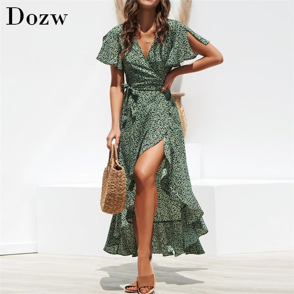 Simplee Casual green print women dress Summer holiday style V-neck lace flared sleeve dresses Ruffled short-sleeved floral dress