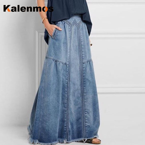 KALENMOS Denim Jeans Women Long Skirt Stretch Vintage Loose Slim Fit Blue Club Streetwear Cotton Sexy Harajuku Skirts Plus Size
