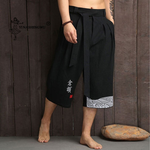 Japanese Traditional Kimono Men Asian Harem Pants Casual Loose Style Yukata Trousers Linen