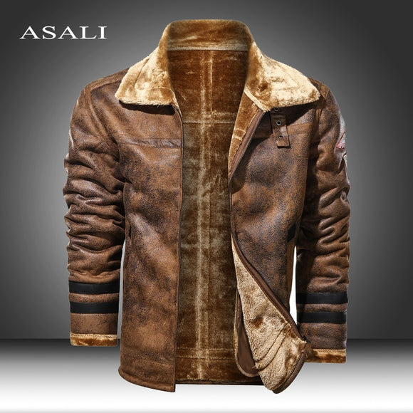 Large Size 5XL Sheepskin Slim Aviation Genuine Leather Bomber Jacket Men Real Leather Flights Jacket Black Aviator Pilot Coats