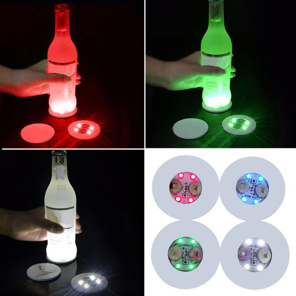 Mini Glow Coaster LED Bottle Light Stickers Festival Nightclub Bar Party Vase Decoration LED Glorifier Drink Cup Mat 3 Modes#734