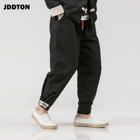 Men's Cotton Harem Solid Pants Harajuku Loose Casual Chinese Style Leisure Streetwear Fashion Hip Hop Male Trousers JE134