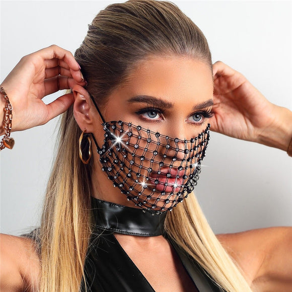 2020 New Luxury Mystic Black Mesh Veil Rhinestone Jewelry Mask for Women Bling Crystal Decoration Mask Prom Party Face Jewelry