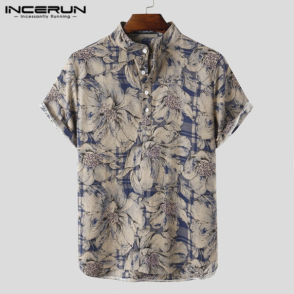 INCERUN Mens Printed Camisa Masculina Summer Hawaiian Blouse Men Vintage Shirts Short Sleeve Lapel Camisa Casual Buttons Blusas