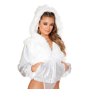 Sexy Colorful Light Up LED Faux Fur Jacket Coat for Women Hot Girls Hooded Rave Party Stage Neon Led Faux Fur Jacket Coats