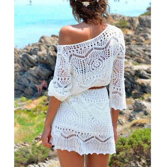 New Sexy Women Lace Crochet Bikini Beach Boho Dress Hollow Out Loose Dresses Three Quarter Sleeve Beachwear Mini Dress