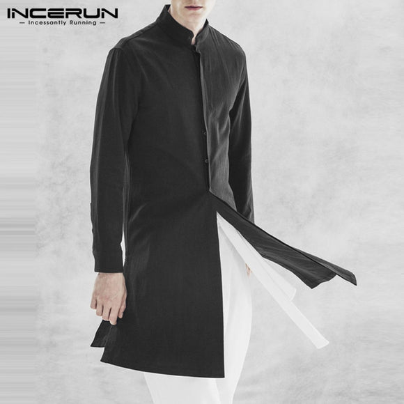 2020 NEW Stylish Mens Long Jackets Black Stand Collar Button Up Fashion Coats Jackets Cardigan Trench Overcoats Male Outwear Man
