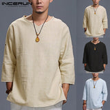 INCERUN T Shirt Men Solid Loose 3/4 Sleeve V-neck Cotton Men Tee Tops Casual Vintage T-shirt Chinese Style Camisetas Hombre 5XL