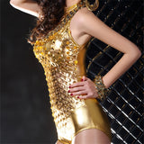 Hollow Out Spandex Sleeveless Low Cut Bodysuit (Black/Gold/Silver)