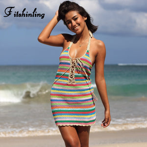 Handmade crochet backless beach dress 2018 knitted rainbow stripe sexy dresses women clothing lace up hot pareos (One Size)