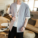 2018 Men Cotton Linen Jacket China Style Kongfu Coat Male Loose Kimono Cardigan Overcoat Open Stitch Coat Male Windbreaker 5XL