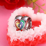 Simple Lovers Ring Silver Stainless Steel Rainbow Color Enamel Stitching Love Heart Rings For Women Men Wedding Jewelry Bague